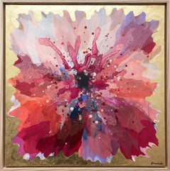 """""""Wild Plum Hibiscus"""" Contemporary Layered Mixed Media Floral Painting on Canvas"""