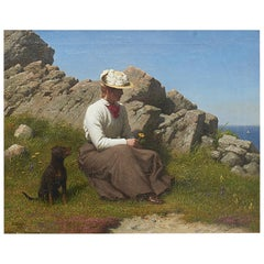 """Anton Dorph, Painting """"Young Woman On The Cliffs At Gudhjem"""""""