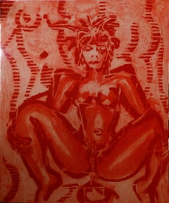 Untitled (Red), Large Lithograph, Neo-Expressionism, 20th Century
