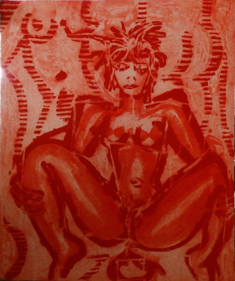 Anton Henning Interior Print - Untitled (Red), Large Lithograph, Neo-Expressionism, 20th Century