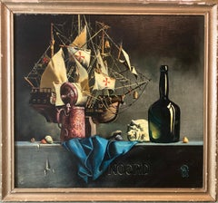 Russian-Ukrainian Oil Painting of Model Ship Santa Maria Still Life with Bottle