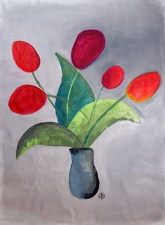 Five Tulips, Painting, Acrylic on Paper