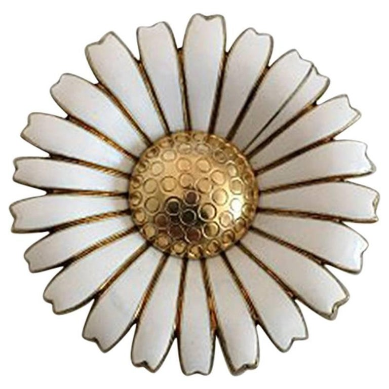 Anton Michelsen Daisy Brooch in Gilded Sterling Silver and White Enamel For Sale