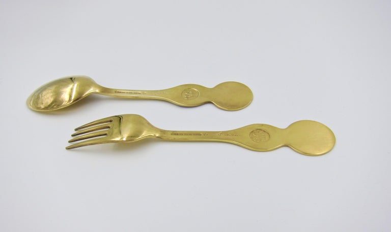 Anton Michelsen Gilded Silver and Enamel Christmas Fork and Spoon Set, 1969 For Sale 3