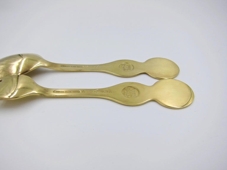 Anton Michelsen Gilded Silver and Enamel Christmas Fork and Spoon Set, 1969 For Sale 4
