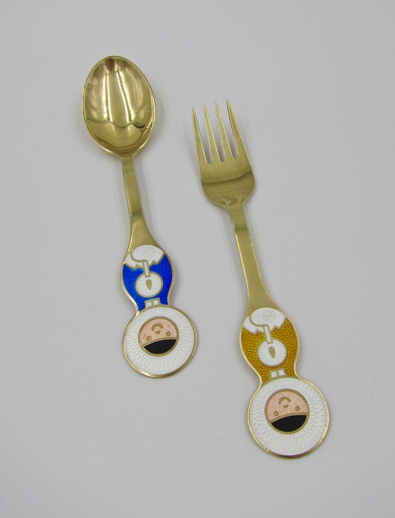 Anton Michelsen Gilded Silver and Enamel Christmas Fork and Spoon Set, 1969 For Sale 7