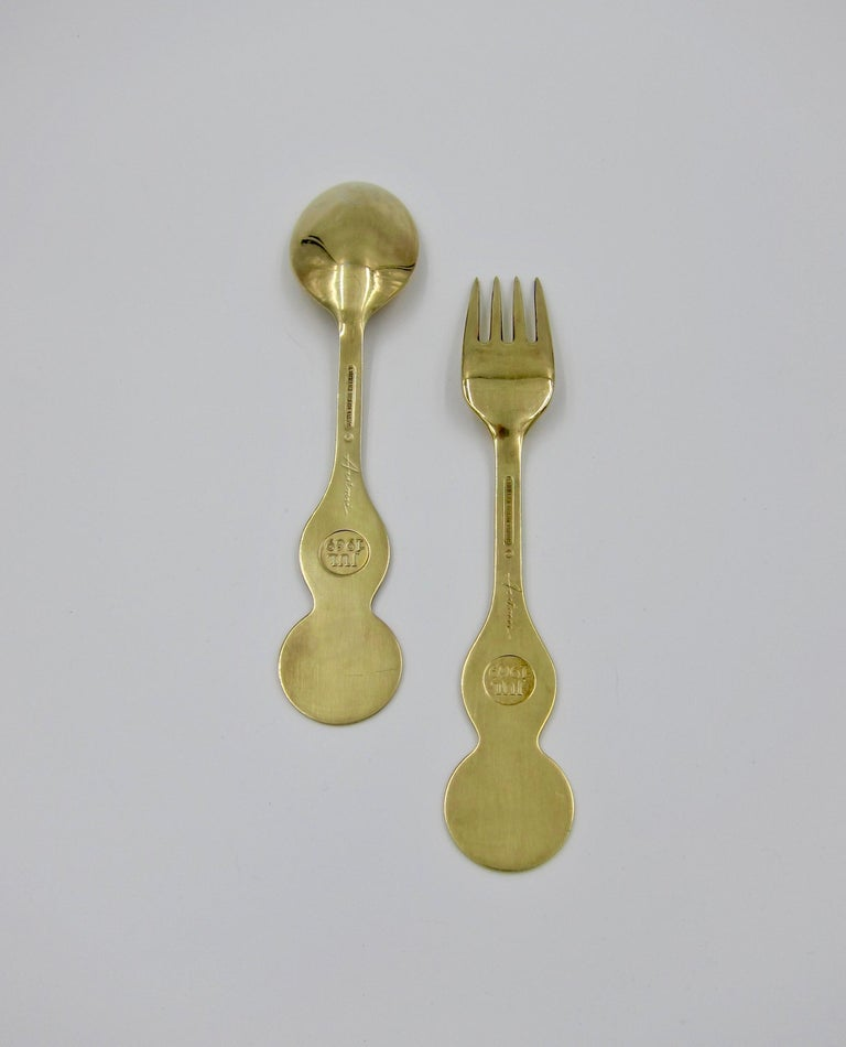 Anton Michelsen Gilded Silver and Enamel Christmas Fork and Spoon Set, 1969 For Sale 2