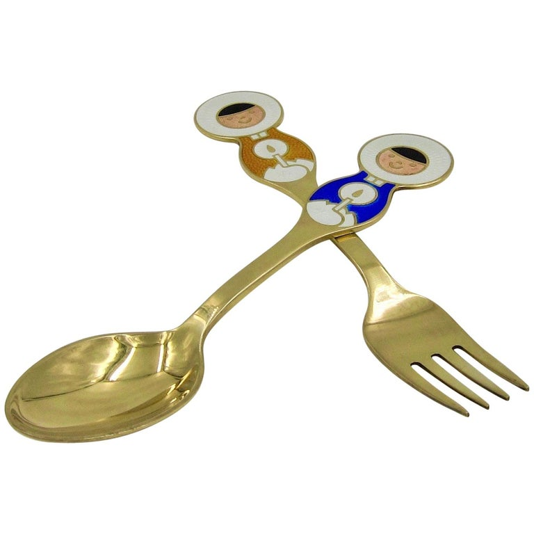 Anton Michelsen Gilded Silver and Enamel Christmas Fork and Spoon Set, 1969 For Sale