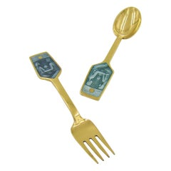 Anton Michelsen Gilded Silver and Enamel Christmas Fork and Spoon Set, 1973