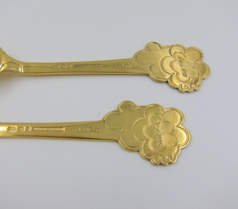 Anton Michelsen Gilded Silver and Enamel Christmas Fork and Spoon Set, 1975 For Sale 3
