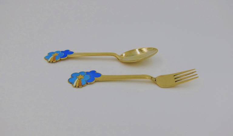 Danish Anton Michelsen Gilded Silver and Enamel Christmas Fork and Spoon Set, 1975 For Sale