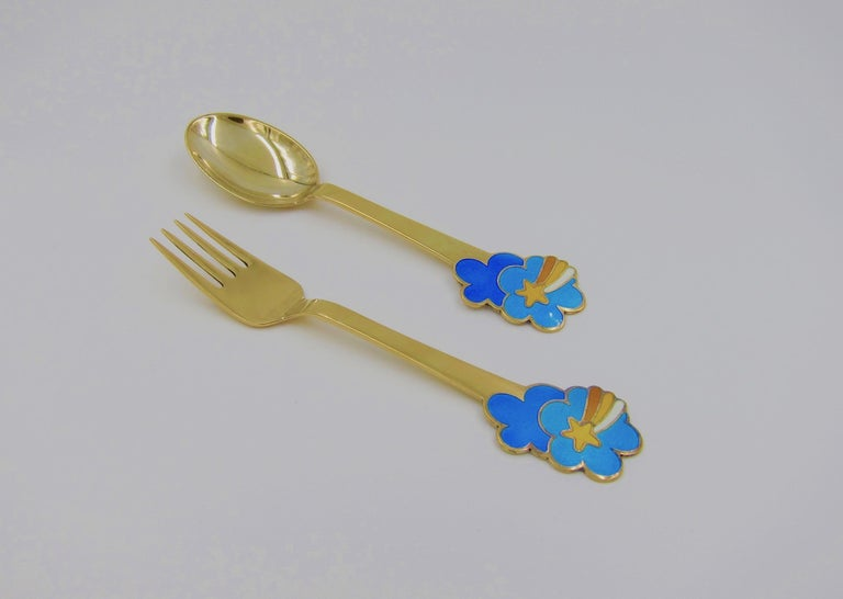 Enameled Anton Michelsen Gilded Silver and Enamel Christmas Fork and Spoon Set, 1975 For Sale