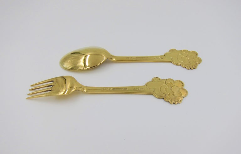 Anton Michelsen Gilded Silver and Enamel Christmas Fork and Spoon Set, 1975 For Sale 2