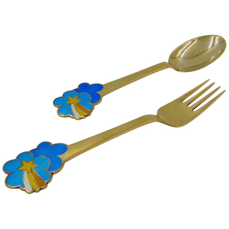 Anton Michelsen Gilded Silver and Enamel Christmas Fork and Spoon Set, 1975 For Sale