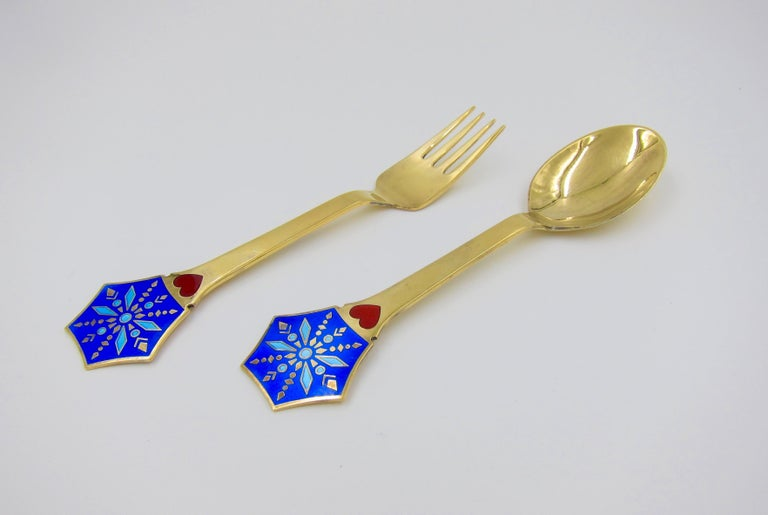 Anton Michelsen Gilded Silver and Enamel Christmas Fork and Spoon Set, 1976 For Sale 3