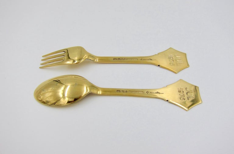 Anton Michelsen Gilded Silver and Enamel Christmas Fork and Spoon Set, 1976 For Sale 4