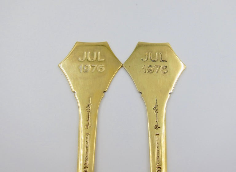 Anton Michelsen Gilded Silver and Enamel Christmas Fork and Spoon Set, 1976 For Sale 5