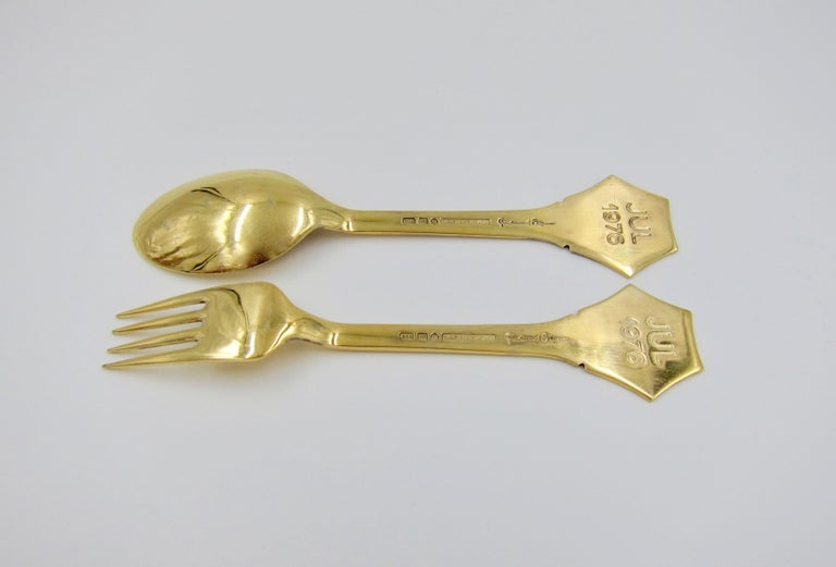 Anton Michelsen Gilded Silver and Enamel Christmas Fork and Spoon Set, 1976 For Sale 7