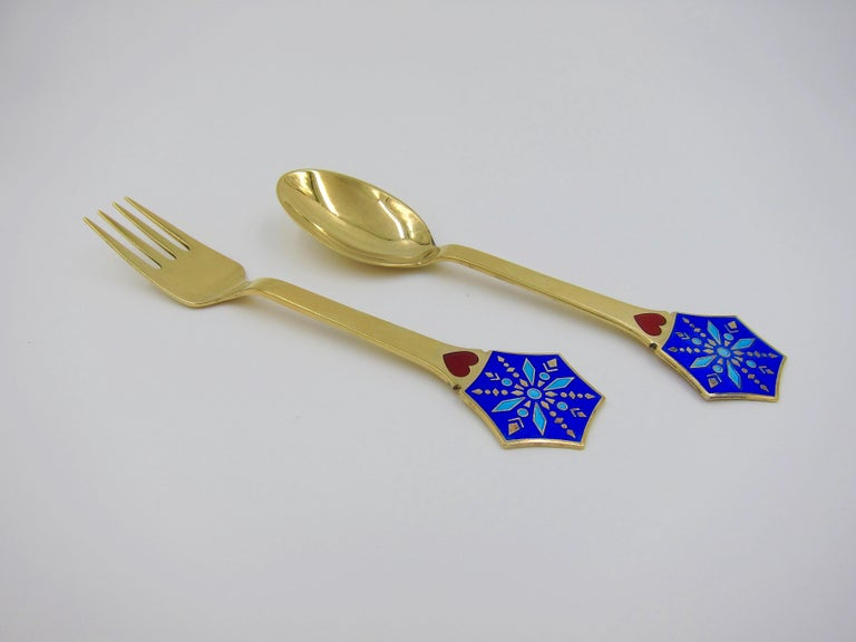 Danish Anton Michelsen Gilded Silver and Enamel Christmas Fork and Spoon Set, 1976 For Sale