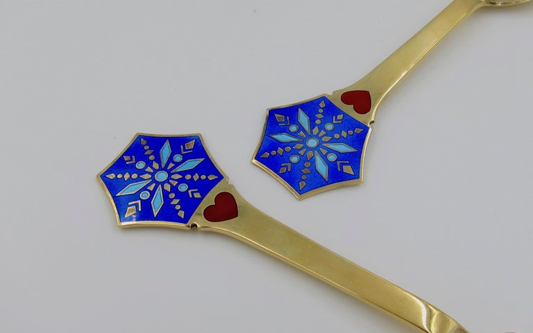 Enameled Anton Michelsen Gilded Silver and Enamel Christmas Fork and Spoon Set, 1976 For Sale