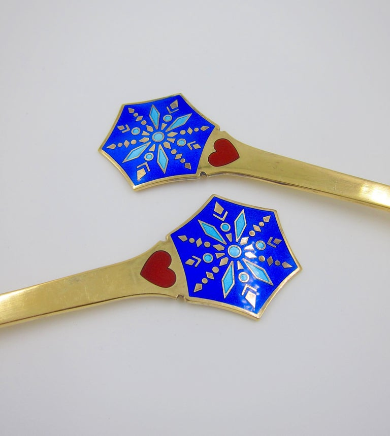 Anton Michelsen Gilded Silver and Enamel Christmas Fork and Spoon Set, 1976 In Good Condition For Sale In Los Angeles, CA