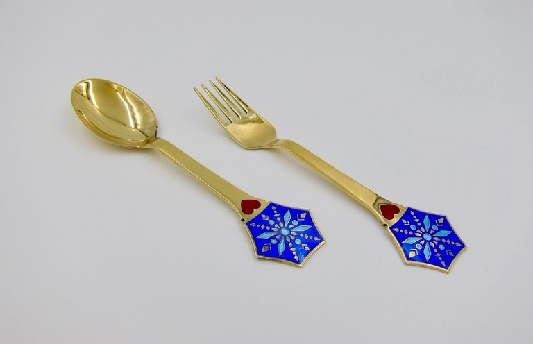 Anton Michelsen Gilded Silver and Enamel Christmas Fork and Spoon Set, 1976 For Sale 2