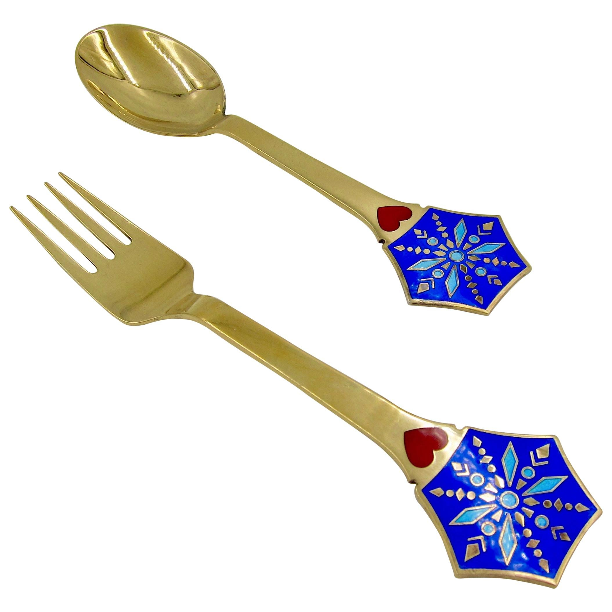 1976 Anton Michelsen Gilded Silver and Enamel Christmas Fork and Spoon Set