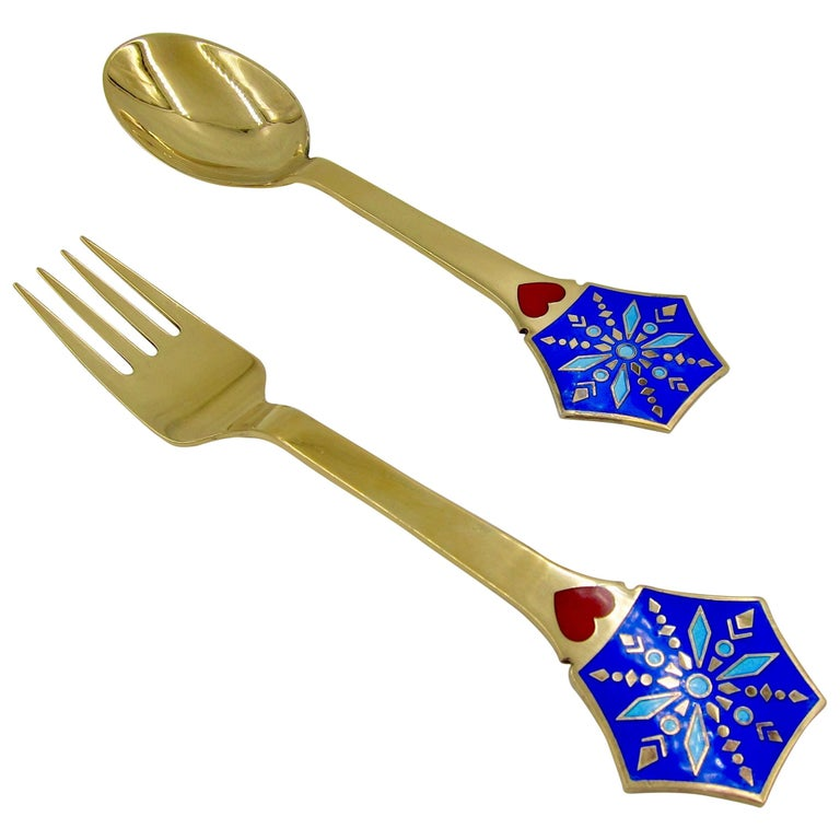 Anton Michelsen Gilded Silver and Enamel Christmas Fork and Spoon Set, 1976 For Sale