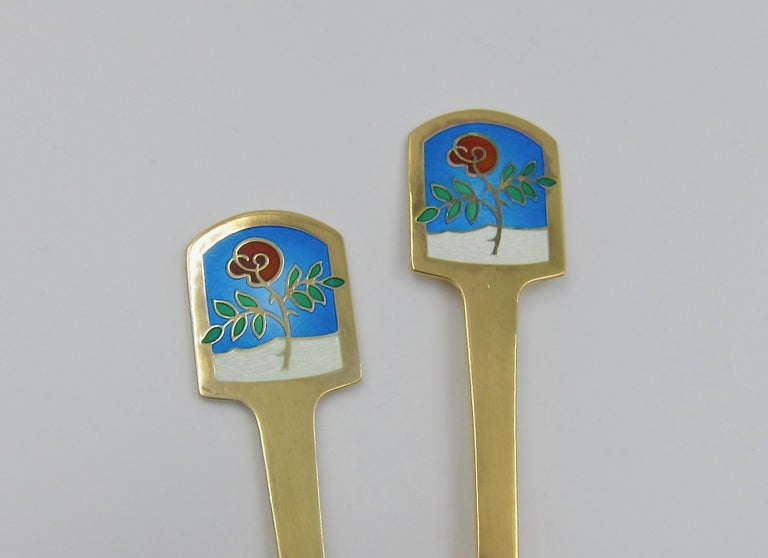 Anton Michelsen Gilded Silver and Enamel Christmas Fork and Spoon Set, 1977 For Sale 3