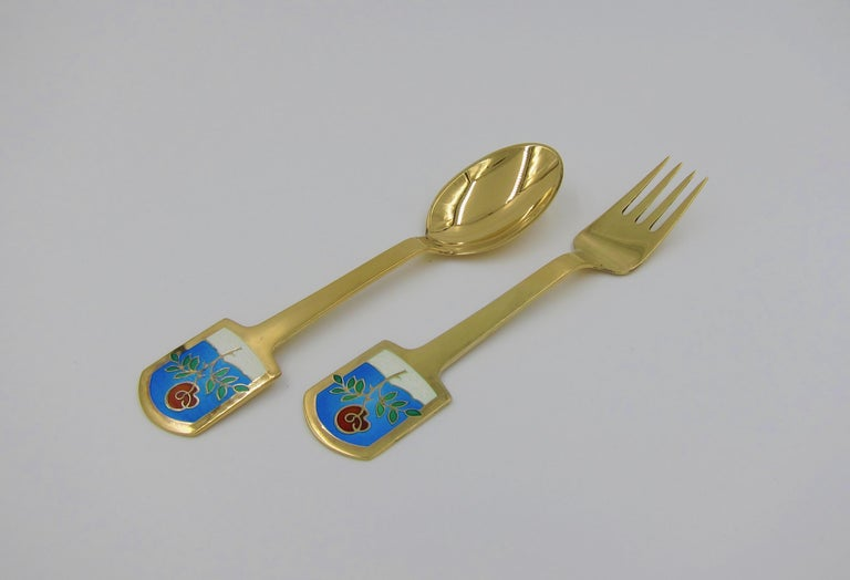 Mid-Century Modern Anton Michelsen Gilded Silver and Enamel Christmas Fork and Spoon Set, 1977 For Sale