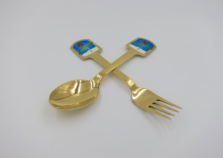 Danish Anton Michelsen Gilded Silver and Enamel Christmas Fork and Spoon Set, 1977 For Sale