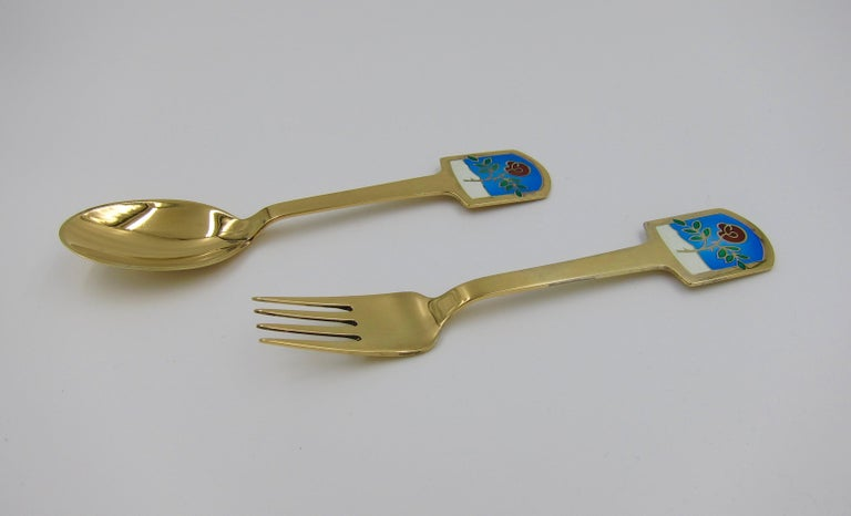 Anton Michelsen Gilded Silver and Enamel Christmas Fork and Spoon Set, 1977 For Sale 1