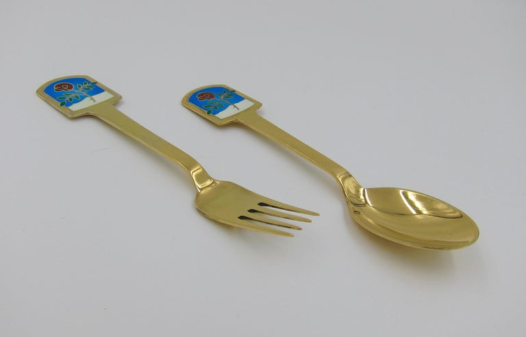Anton Michelsen Gilded Silver and Enamel Christmas Fork and Spoon Set, 1977 For Sale 2