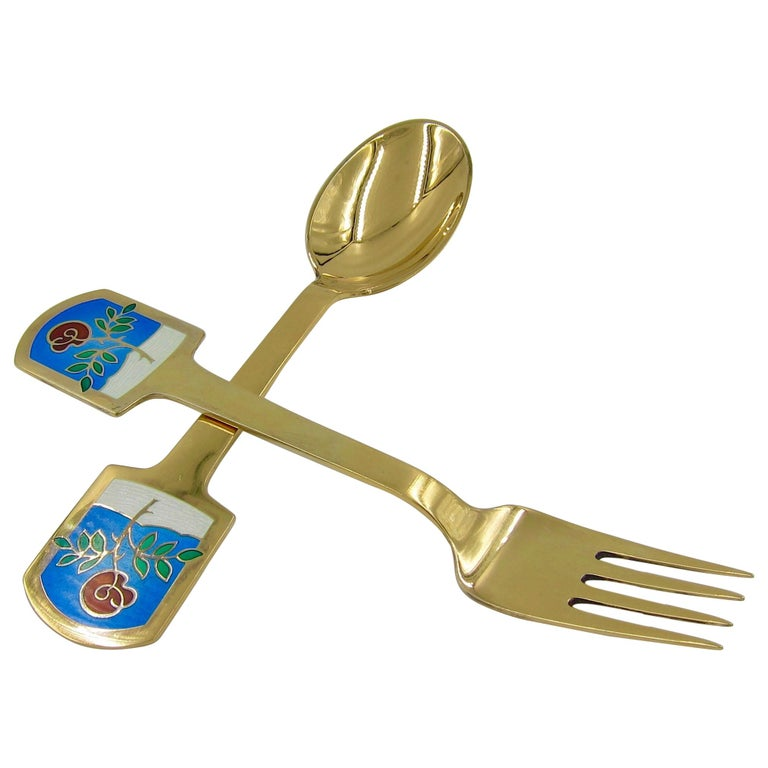 Anton Michelsen Gilded Silver and Enamel Christmas Fork and Spoon Set, 1977 For Sale