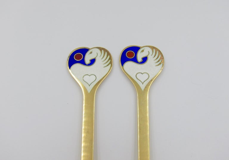 Anton Michelsen Gilded Silver and Enamel Christmas Fork and Spoon Set, 1978 For Sale 3