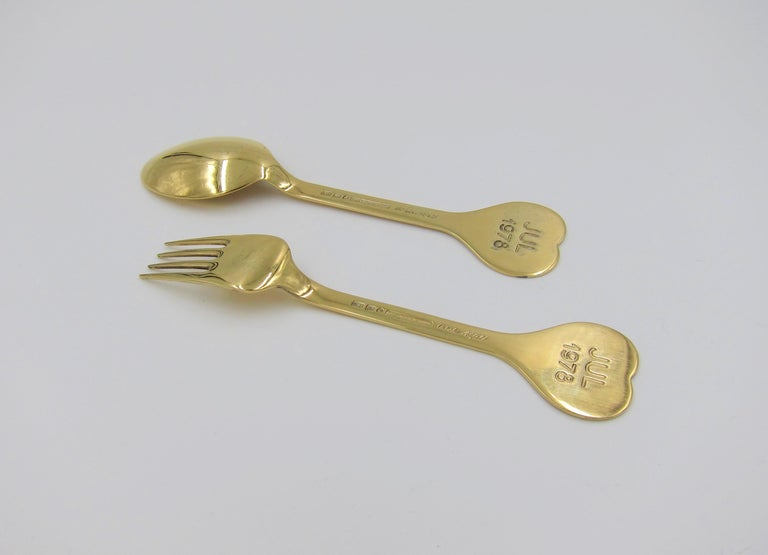 Anton Michelsen Gilded Silver and Enamel Christmas Fork and Spoon Set, 1978 For Sale 4