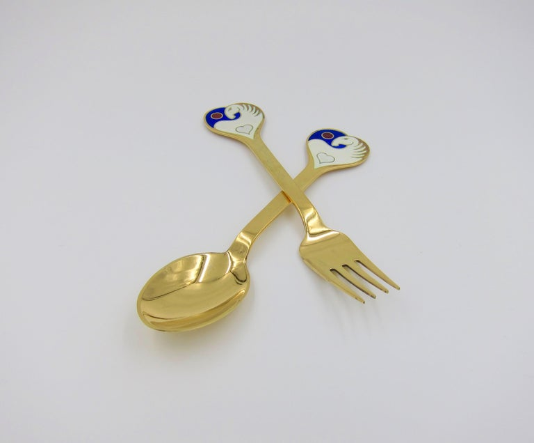 Anton Michelsen Gilded Silver and Enamel Christmas Fork and Spoon Set, 1978 In Good Condition For Sale In Los Angeles, CA