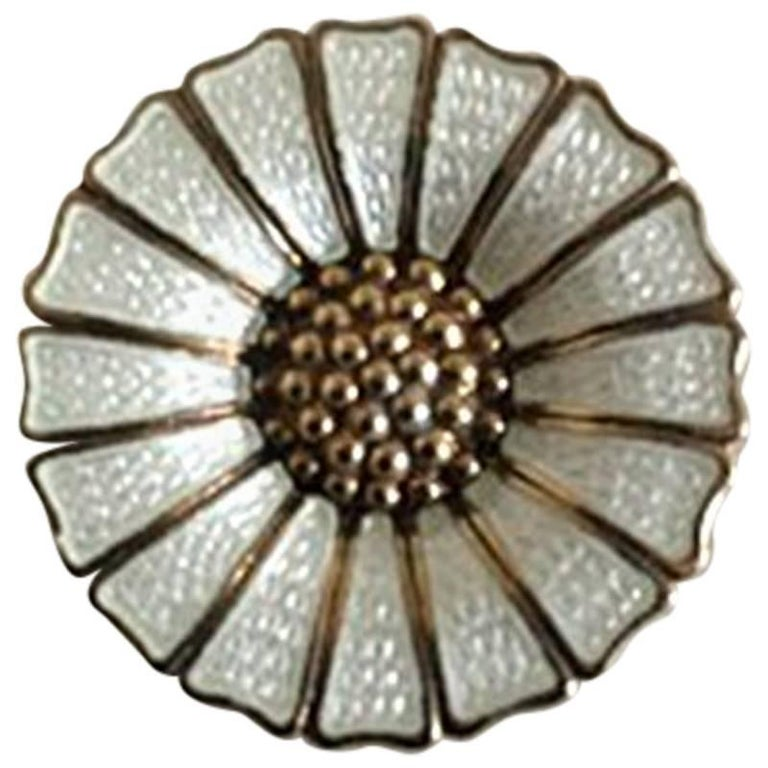 Anton Michelsen Gilded Sterling Silver and Enamel Daisy Brooch For Sale