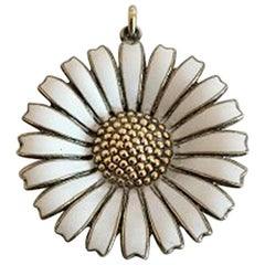 Anton Michelsen Large Marguerite Pendent in Sterling Silver and Enamel