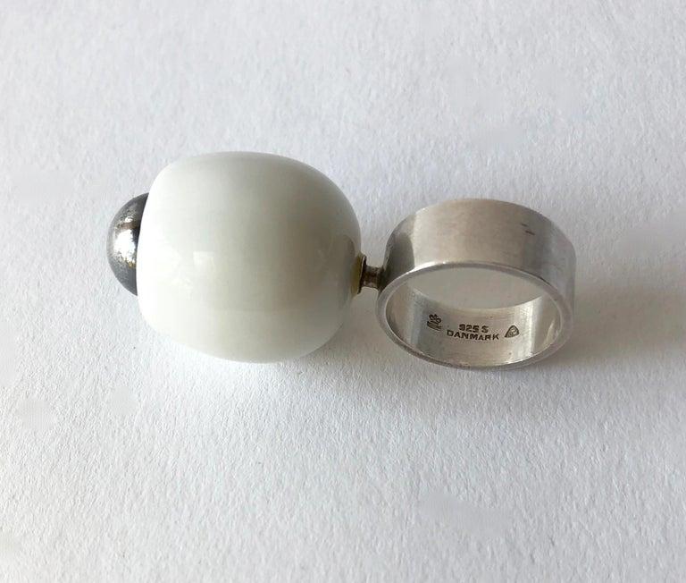 Women's Anton Michelsen Royal Copenhagen Porcelain Sterling Danish Modernist Pod Ring For Sale