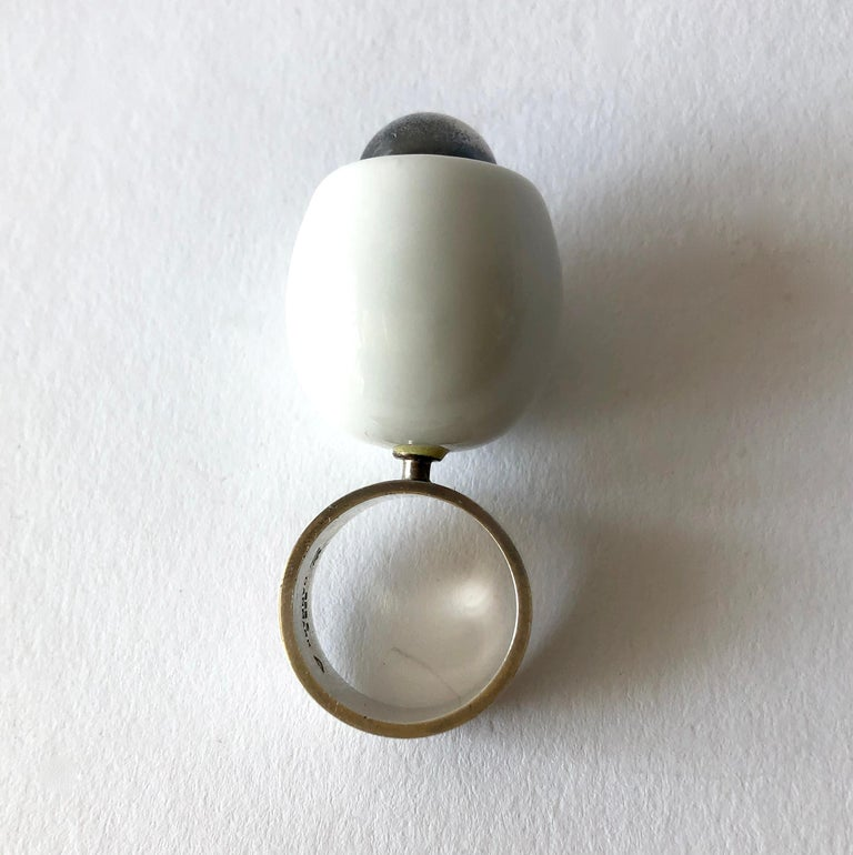 Anton Michelsen Royal Copenhagen Porcelain Sterling Danish Modernist Pod Ring For Sale 1