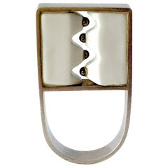 Anton Michelsen Royal Copenhagen Porcelain Sterling Danish Modernist Pod Ring