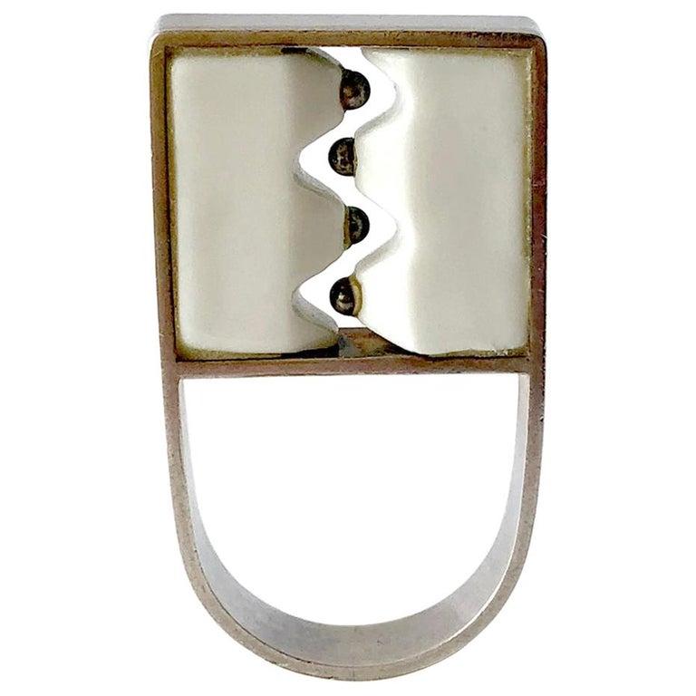 Anton Michelsen Royal Copenhagen Porcelain Sterling Danish Modernist Pod Ring For Sale