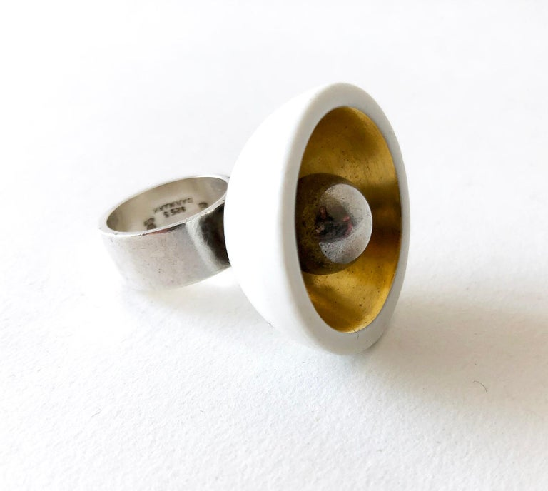 Anton Michelsen Royal Copenhagen Porcelain Sterling Silver Danish Modernist Ring In Good Condition For Sale In Los Angeles, CA