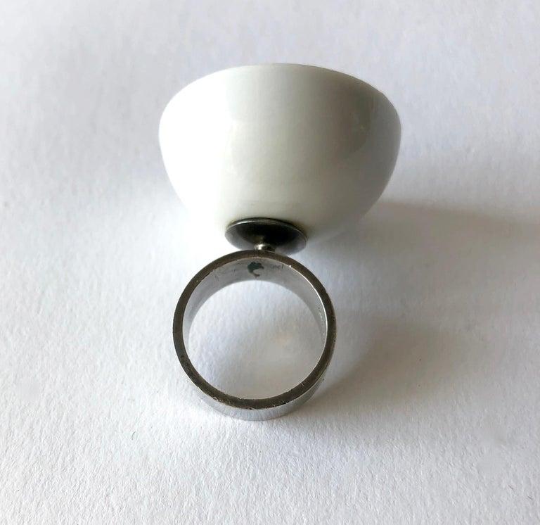 Anton Michelsen Royal Copenhagen Porcelain Sterling Silver Danish Modernist Ring For Sale 1
