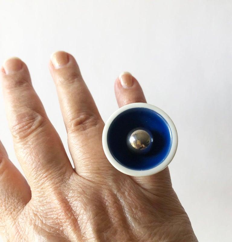 Anton Michelsen Royal Copenhagen Porcelain Sterling Silver Danish Modernist Ring For Sale 2