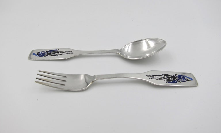 Mid-Century Modern Anton Michelsen Sterling Silver and Enamel Christmas Fork and Spoon Set, 1966 For Sale