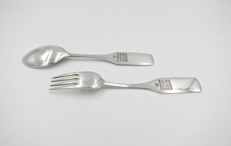 Anton Michelsen Sterling Silver and Enamel Christmas Fork and Spoon Set, 1966 In Good Condition For Sale In Los Angeles, CA
