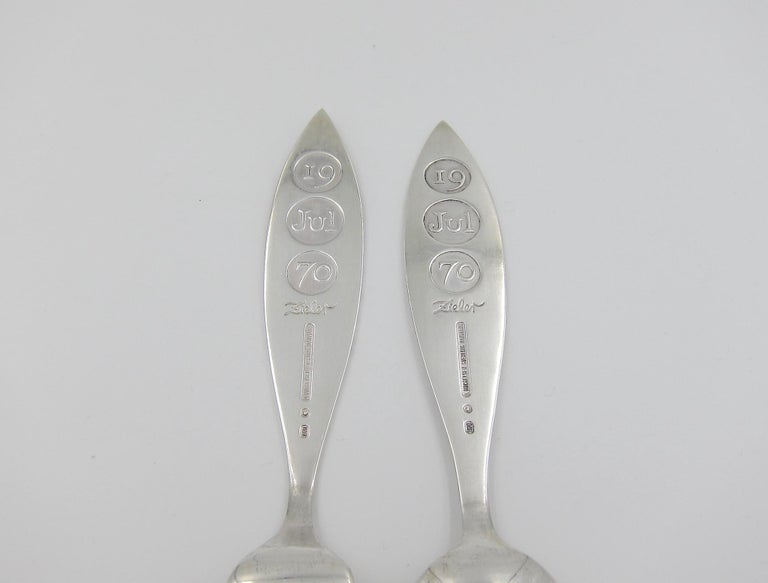 Anton Michelsen Sterling Silver and Enamel Christmas Fork and Spoon Set, 1970 For Sale 3