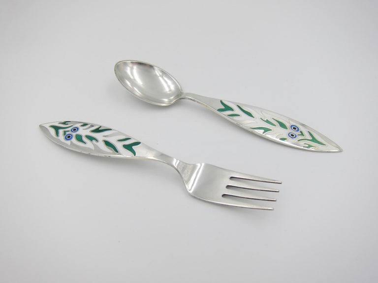 Danish Anton Michelsen Sterling Silver and Enamel Christmas Fork and Spoon Set, 1970 For Sale